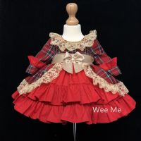 Beautiful Wee Me Baby Girl Red Tartan Spanish Dress Puff Ball Tan Lace Trim